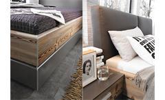 Bett Belina Schlafzimmer Doppelbett Lärche natur graphit Lederlook basalt 180x200 cm