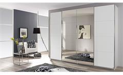 Schwebetürenschrank Syncrono Kleiderschrank Schrank in weiß mit Spiegel 271 cm