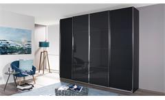Schwebetürenschrank Syncrono Kleiderschrank grau metallic Glas basalt 271 cm