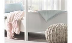 Himmelbett Marit Bett Schlafzimmer weiß Kopfteil mit Sprossen 180x200 cm