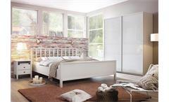 Schlafzimmer-Set 2 Marit Bett Kleiderschrank Nachtkommode weiß 180x200 cm