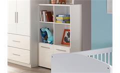 Regal Manja Bücherregal Kinderzimmer Jugendzimmer Weiß Hochglanz B 92 cm
