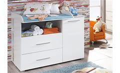 Babyzimmer-Set Manja Bett Wickelkommode Kleiderschrank Wandboard weiß Hochglanz