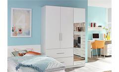 Jugendzimmer-Set Manja Bett Kleiderschrank Schreibtsch Nako 5-teilig weiß Hochglanz