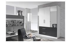 Kleiderschrank Alvor Schrank für Schlafzimmer weiß grau metallic Spiegel 136 cm