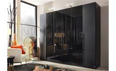 Kleiderschrank Bayamo Schrank Schlafzimmer Glas matt schwarz Glas schwarz B 270 cm