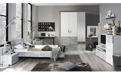 Jugendzimmer Sumatra Extra Schlafzimmer in Alpinweiß Abetzung Vintage grau