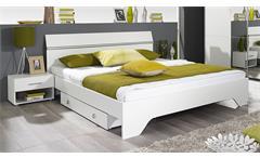 Bettanlage FELLBACH Bett Schlafzimmerbett Nako weiß 160x200