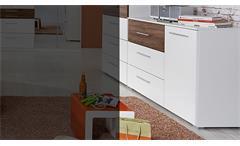 Kommode Nelia Sideboard Anrichte in weiß Hochglanz und Eiche Stirling