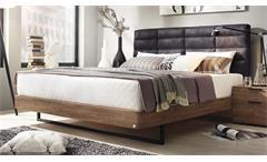 Bett Davia Schlafzimmerbett in Eiche Stirling mit Polster in schwarz 180x200