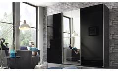 Kleiderschrank Baylando 7 Schrank in graphit schwarz Hochglanz mit Spiegel 300