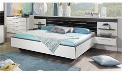Bett Coleen Bettanlage Schlafzimmerbett Nachtkommode weiß graphit Basaltglas LED