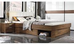 Bett Saranas Schlafzimmerbett Eiche Stirling und weiß mit Bettbank 180 cm