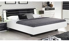 Bett Nienburg Schlafzimmerbett in weiß und grau metallic mit Glas in basalt 180