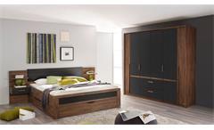 Schlafzimmer Set 2 Bernau Bett Nako Kleiderschrank Eiche Stirling grau basalt