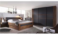 Schlafzimmer Set 3 Bernau Bett Nako Kleiderschrank Eiche Stirling grau basalt