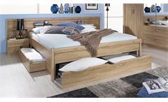 Bettanlage Cham Bett Schlafzimmerbett Nachtkommode Nako in Sonoma Eiche 180