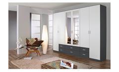 Kleiderschrank Gammas Schrank Schlafzimmerschrank in weiß und grau metallic 271