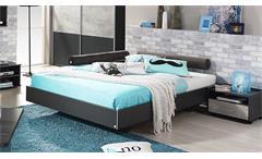 Bett Milo Futonbett Bettgestell Liege für Jugendzimmer in grau metallic 120x200