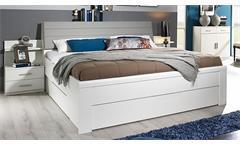 Bettanlage Schwandorf Doppelbett Nachtkommode Schlafzimmer weiß Lederlook beige
