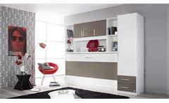 Schrankbett Albero mit Kleiderschrank und Regalüberbau Kinderzimmer Jugendzimmer Weiß Lavagrau