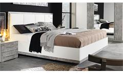 Bett SIEGEN Bettgestell Polsterbett in weiß Stone grau 180x200 cm