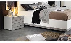 Nachtkommode 2er Set Siegen Nachtschrank Kommode Nako in weiß und Stone grau