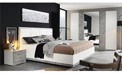 Schlafzimmer Set Siegen Schwebetürenschrank Bett Nako in weiß und Stone grau