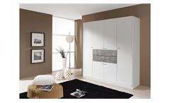 Kleiderschrank Landsberg-Extra Schrank für Schlafzimmer weiß und Stone grau 181