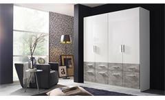 Kleiderschrank Lorch-Plus Schrank für Schlafzimmer weiß Hochglanz und Stone 181