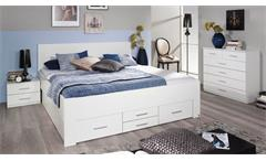 Bett Isotta Bettanlage Bettgestell Komfortbrett für Schlafzimmer in weiß 180x200