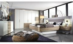 Schlafzimmer Theresa 4-tlg weiß San Remo Eiche inkl. LED Selbsteinzug Dämpfung