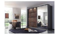 Schwebetürenschrank Meppen Kleiderschrank Rost braun grau-metallic Spiegel 271
