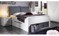 Bett Scala Bettgestell Jugendbett Bettsystem weiß mit Stoffboxen grau 140x200