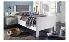 Bett Villingen Komfortbett Bettgestell in weiß grau Polster-Kopfteil 100x200 cm