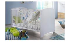 Babybett Filipo Kinderbett Gitterbett Bett in weiß inkl. Lattenrost 70x140 cm