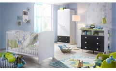 Babyzimmer Filipo Kinderzimmer Komplett Set weiß und grau-metallic 3-teilig