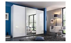 Schwebetürenschrank Rastatt Kleiderschrank weiß Glas kristallweiß Spiegel 271 cm
