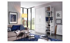 Kleiderschrank Zamora-Plus Schrank weiß Hochglanz mit Regal Passepartout 140 cm