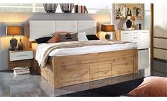 Bettanlage Weingarten Bett Doppelbett inkl. Nachttische Eiche Wotan weiß 180x200