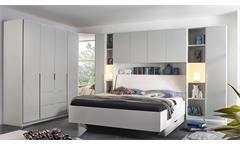 Bett Mafis Doppelbett Bettgestell Schlafzimmer in weiß mit Polsterkopfteil 180