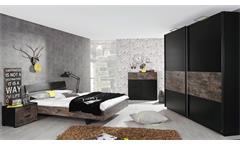 Bett Sumatra Bettgestell Schlafzimmer in Vintage braun und antik schwarz 180x200