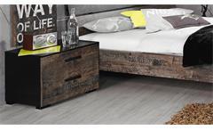 Nachtkommode Sumatra Nachttisch Kommode Schlafzimmer schwarz und Vintage braun