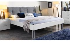 Bett Mavi Extra Bettgestell Schlafzimmer weiß Hochglanz Polster grau 180x200 cm