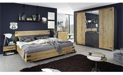 Schlafzimmer komplett 180x200 Nevada 4tlg Eiche Wotan grau metallic Bett Schrank
