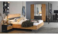 Jugendzimmer 140x200 Set Jugendbett Schrank Butte Eiche Wotan grau-metallic