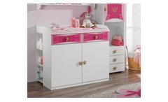 Wickelkommode KATE weiß und rosa Print Prinzessin