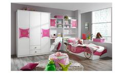 Jugendzimmer Kinderzimmer Kate weiß und rosa Print Prinzessin Set 4-teilig