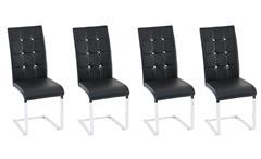 Stuhl Tiffany Esszimmerstuhl in schwarz Chrom und Diamant Applikation 4er Set