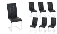 Stuhl Tiffany Esszimmerstuhl in schwarz Chrom und Diamant Applikation 6er Set